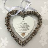 Shabby personalised Chic Special NIECE Gift ANY NAME Willow Heart BIRTHDAY XMAS